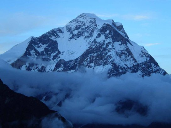 Dhaulagiri main peak seen in front of the ridge from camp (Courtesy Google search)