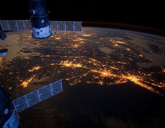 East Coast of United states as visible at night