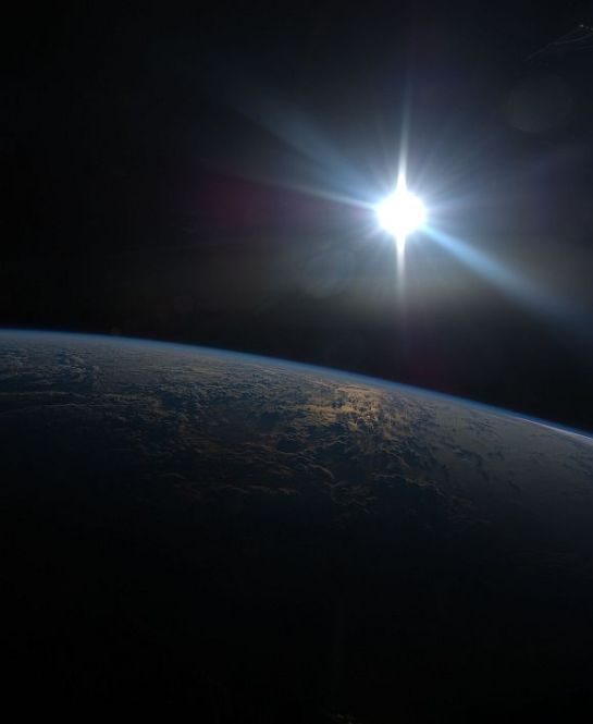 Night view of Earth from Space.